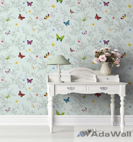 1606 Serie | Butterfly and flowers pattern wallpaper