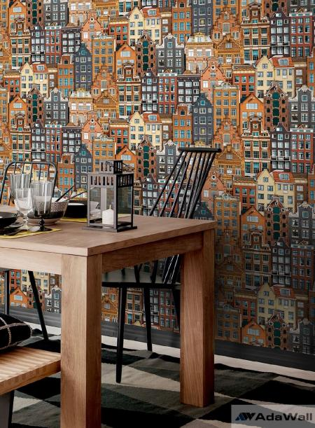 1618 Serie | Amsterdam houses inspired modern pattern wallpaper