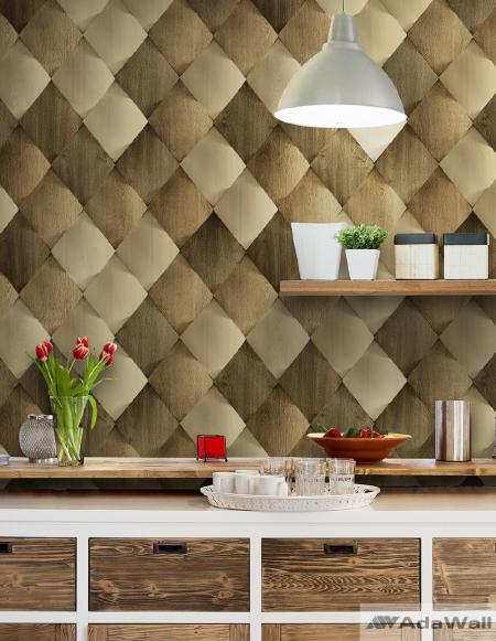 1619 Serie | Satinated wood tiles 3D pattern wallpaper