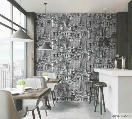 4705 Serie | City architecture motif stylized wallpaper