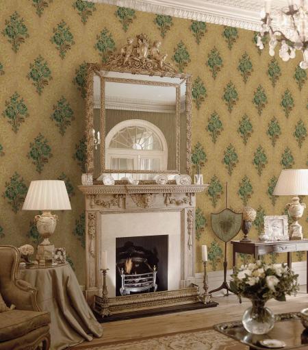 5802 Serie | Klasik Çiçekli Damask süslemeli duvar kağıdı