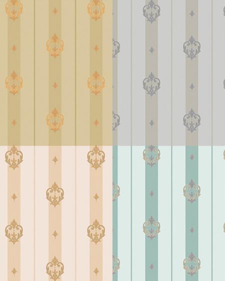 7804 Серия | Полосатые обои с неоклассическим орнаментом