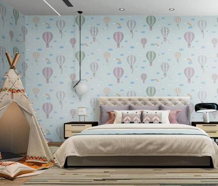 8901 Serie | Flying balloons in the sky with clouds and rainbows wallpaper for kids room