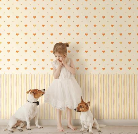 8905 Serie   Heart shaped patterned wallpaper with warm colors