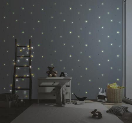 8913 Serie | Night gloving star covered wallpaper